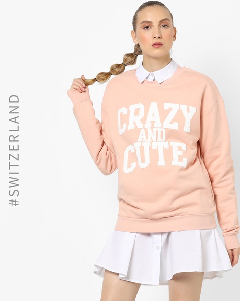 Crew-Neck Sweatshirt With Ribbed Hems By TALLY WEiJL ( Pink )