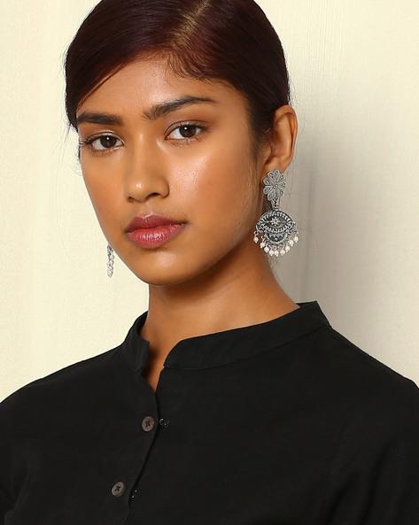 Statement Oxidised Drop-Earrings By Indie Picks ( Silver ) - 460046692001
