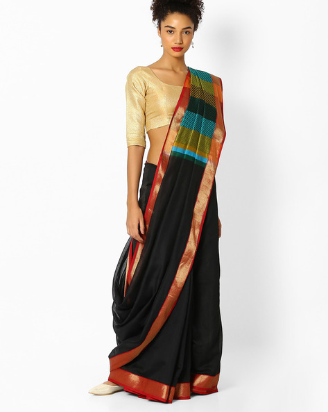 Woven Banarasi Saree With Contrast Border By Parmita ( Black )