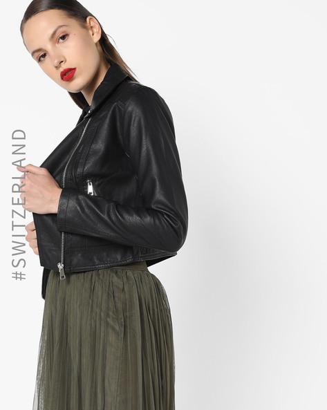 Short Biker Jacket With Front Zipper By TALLY WEiJL ( Black )