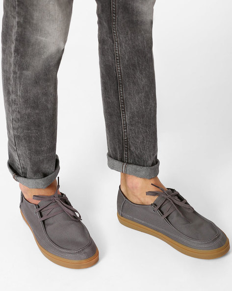 Denim  Rata Vulc SF Loafers With Lace-Ups By Vans ( Grey )
