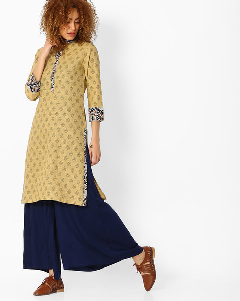 Printed Cotton Straight Kurta By SOCH ( Beige )
