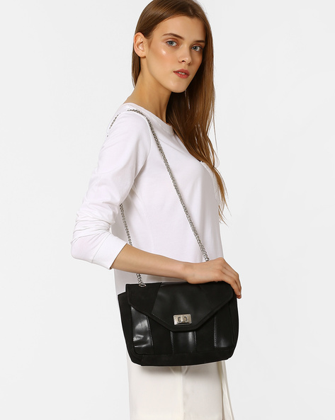 Sling Bag With Chain Strap By Pockit ( Black )