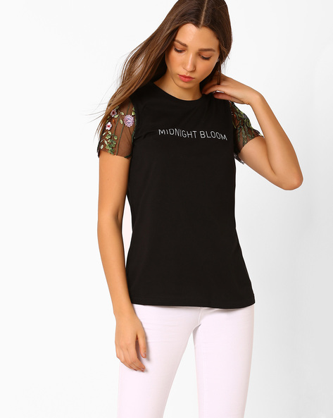 Graphic Print Top With Lace Sleeves By Vero Moda ( Black )