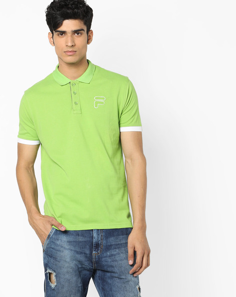 Polo T-shirt With Applique Branding By FILA ( Green )