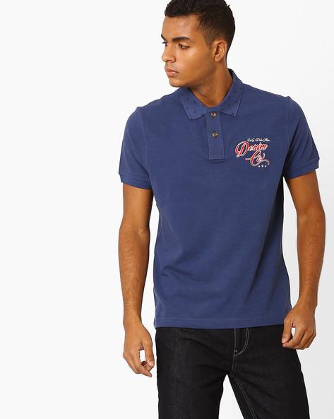 Polo T-shirt With Printed Collar By US POLO ( Indigo )