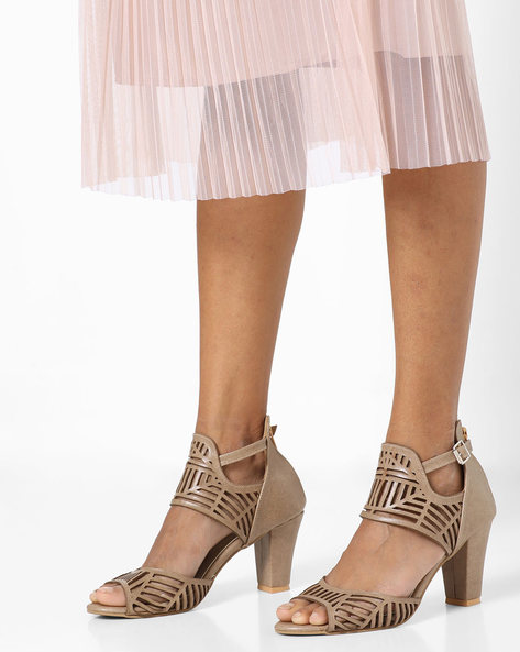 Chunky Heels With Laser Cut-Outs By TEASE ( Grey )