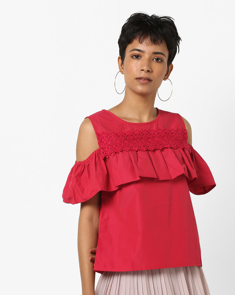 Ruffled Top With Floral Lace Trims By AJIO ( Pink )