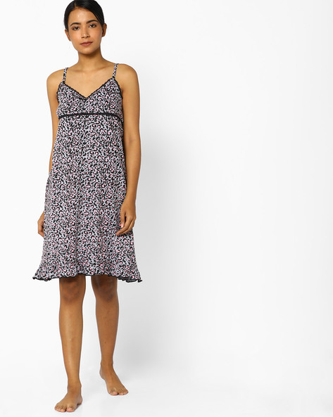 Printed Nightdress With Adjustable Straps By Slumber Jill ( Multi )