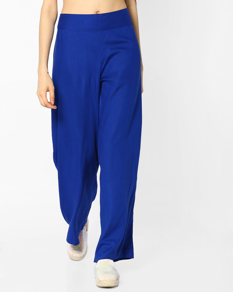 High-Rise Palazzo Pants By PASLEI ( Blue )