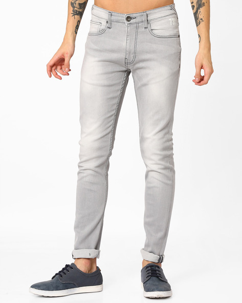 Lightly Washed Slim Jeans By Pepe Jeans ( Grey )