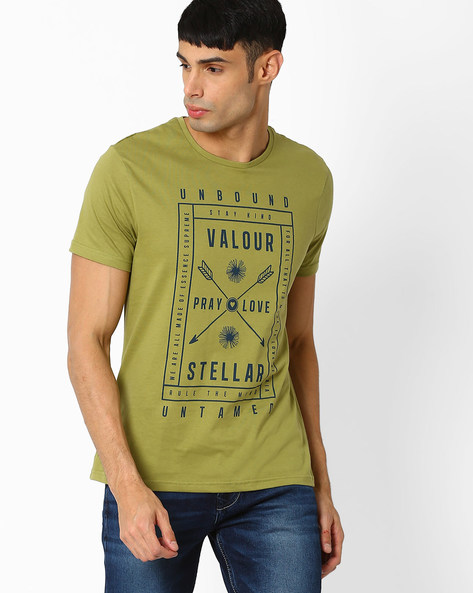 Graphic Print Crew-Neck T-shirt By AJIO ( Olive )