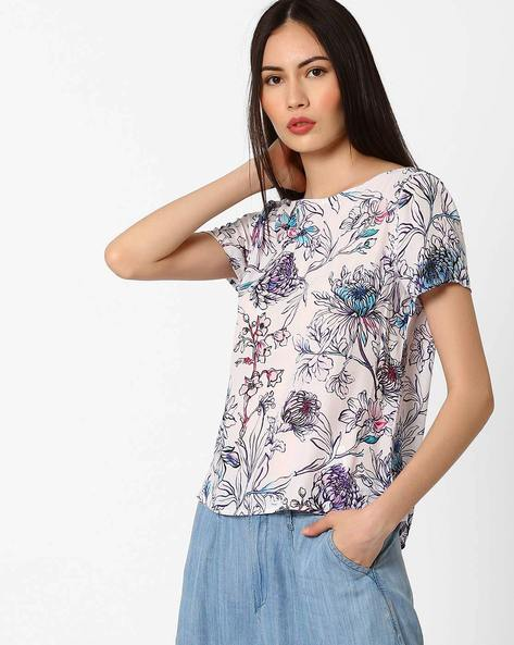 Floral Print Boxy Top By Only ( White )