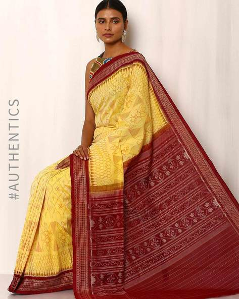 Handwoven Sambalpuri Ikat Cotton Saree By GoCoop ( Yellow ) - 460041392001