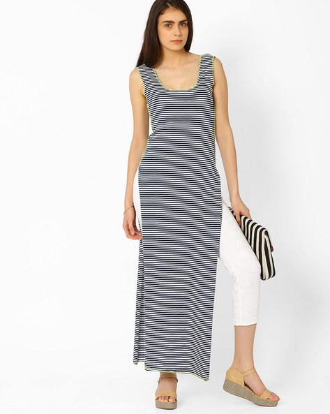 Striped Maxi Top With Side Slit By RIDRESS ( Multi )