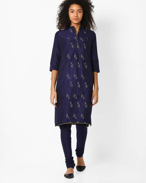Printed Churidar Kurta With Dupatta By AVAASA SET ( Navy )