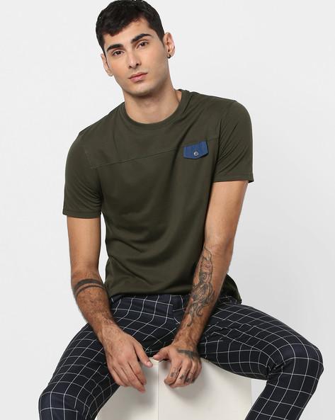 Crew-Neck T-shirt With Contrast Flap By AJIO ( Grey )