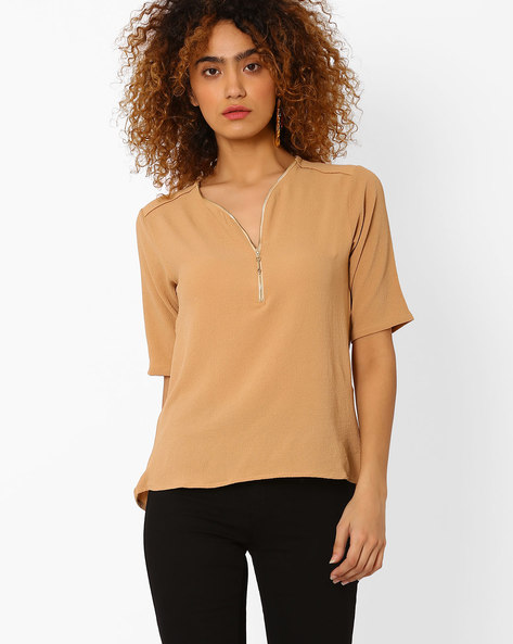 Woven Top With Front Zipper By FIG ( Beige )