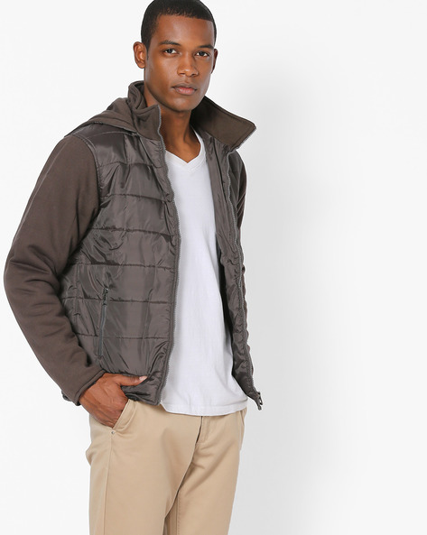 Hooded Quilted Jacket By Campus Sutra ( Olive )