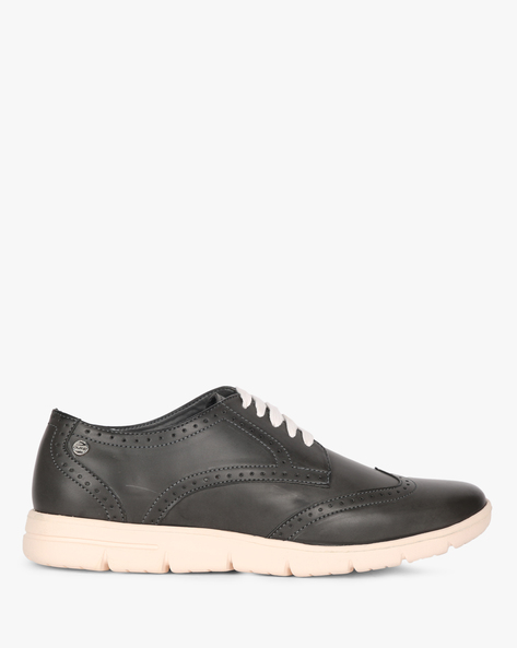 Lace-Up Wingtip Casual Shoes By DUKE ( Grey )