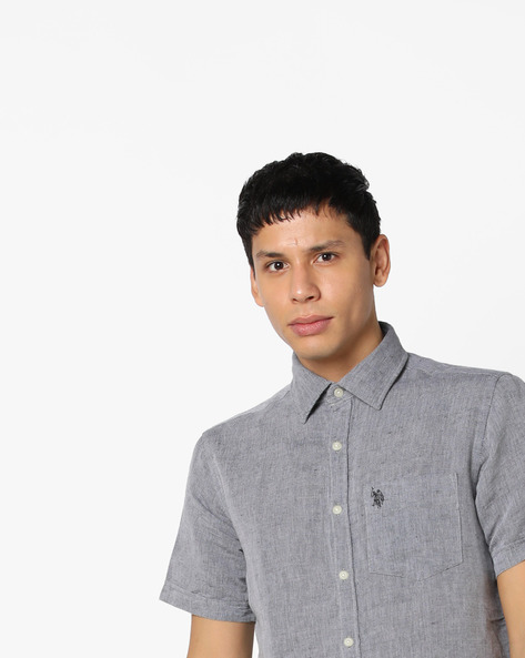 Textured Linen Shirt By US POLO ( Assorted )