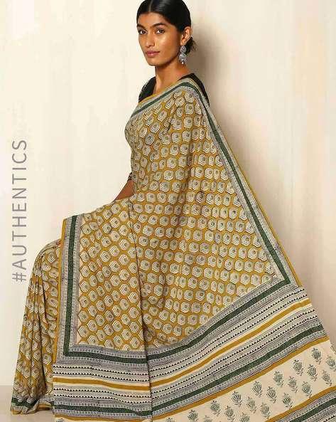 Bagru Handblock Print Cotton Saree By Indie Picks ( Yellow )