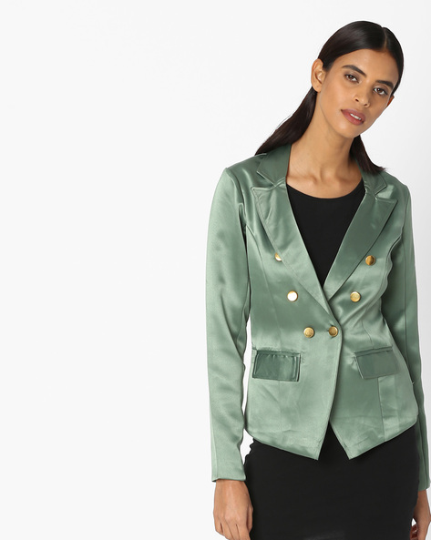 Double-Breasted Blazer With Notched Lapels By Sassafras ( Green )