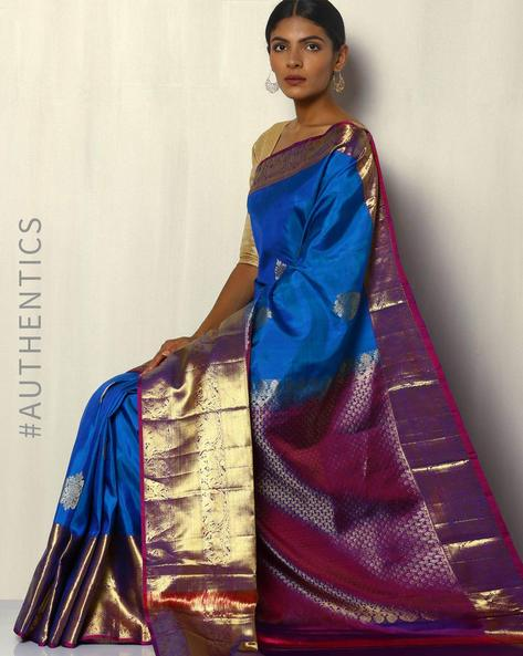 Handloom Kanchipuram Pure Silk Saree With Tested Zari By Pretty Woman ( Blue )