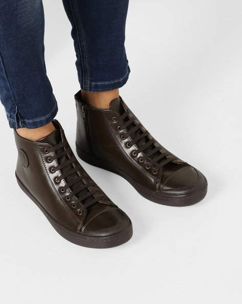 Step Mid-Top Lace-Up Casual Shoes By Blue Saint ( Brown )