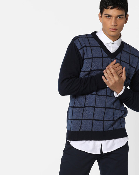 Checked V-neck Pullover By DUKE ( Navy )