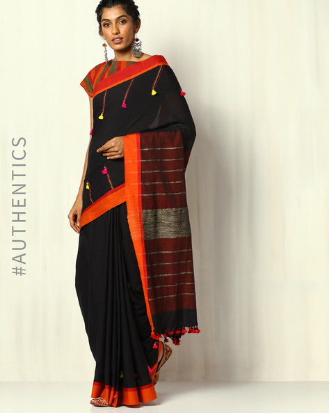 Handloom Bengal Cotton Designer Saree With Tassels By Indie Picks ( Black )