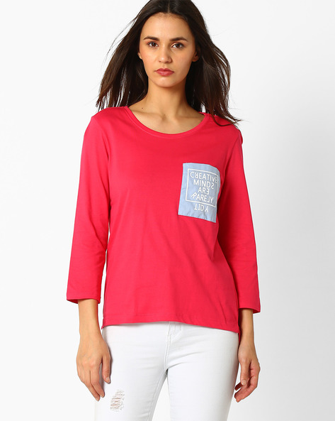 Step Hem T-shirt With Printed Pocket By RIO ( Pink )