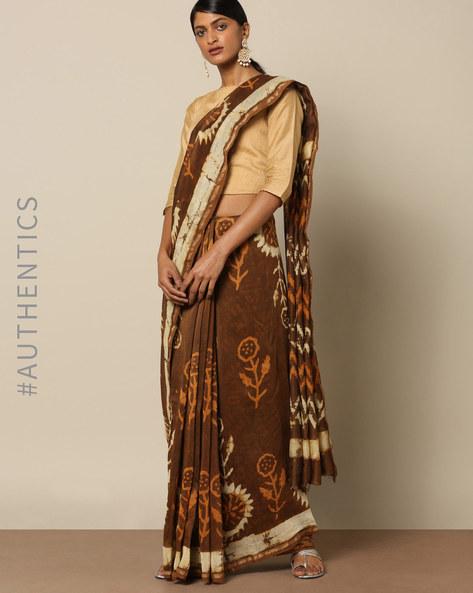 Dabu Handblock Print Chanderi Saree With Zari By Indie Picks ( Brown )