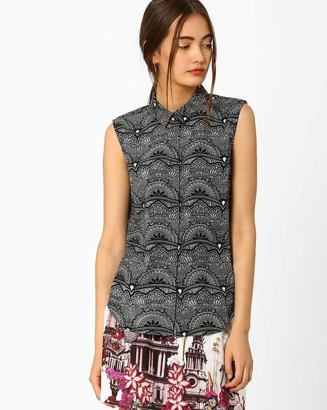 Printed Sleeveless Shirt By AJIO ( Black )