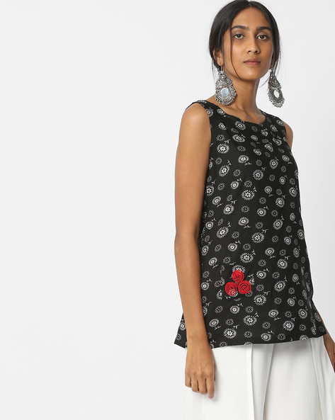 Floral Print Sleeveless Top By FUSION ( Black )