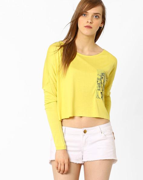 Anti-Fit Boxy Top By AJIO ( Yellow )