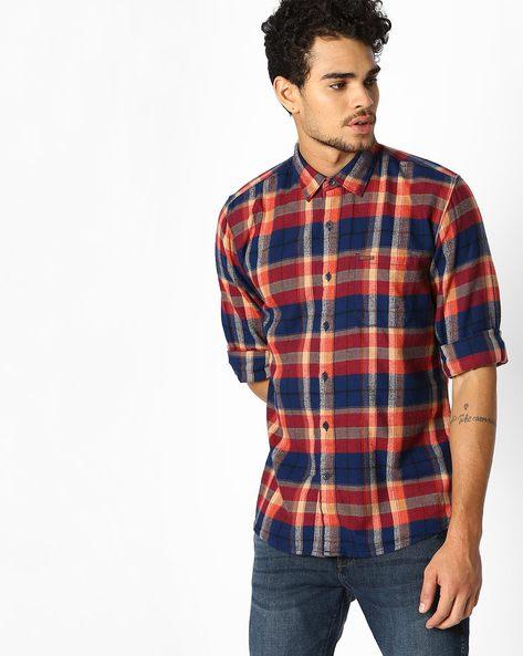 Yarn Dyed Checked Shirt By WRANGLER ( Orange )