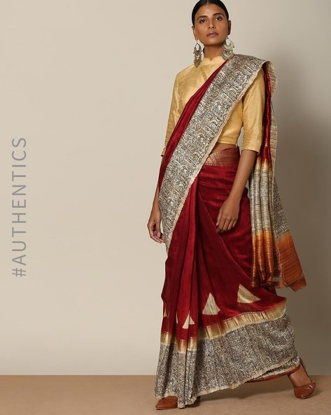 Designer Pure Silk Tussar Mythological Print Saree By Rudrakaashe-MSU ( Coffeebrown )