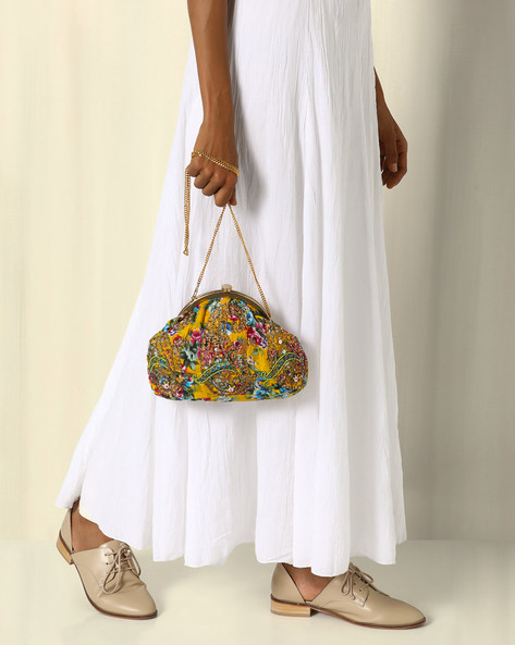 Hand Embroidered Printed Sling Clutch Bag By Neonia ( Multi )