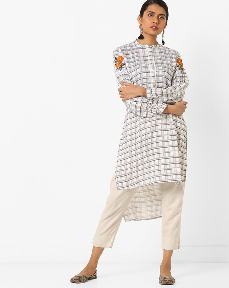 Checked High-Low Kurta With Embroidery By AJIO ( Offwhite )