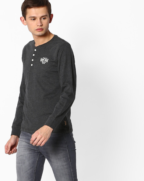 Graphic Print Henley T-shirt By FLYING MACHINE ( Assorted )