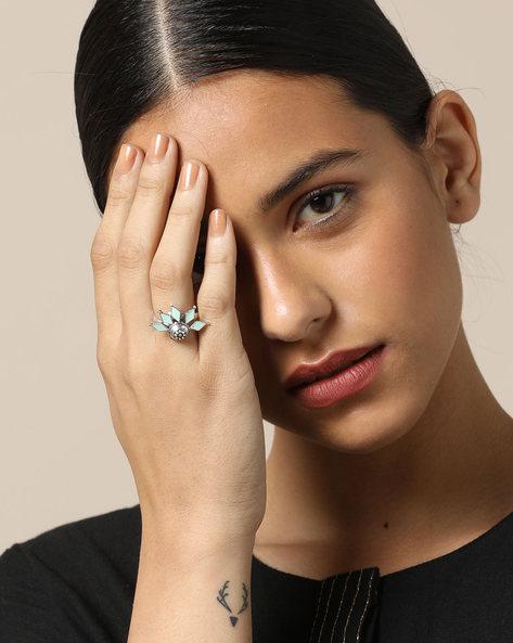 Enamel Brass Oxidised  Ring By Indie Picks ( Multi ) - 460161676001