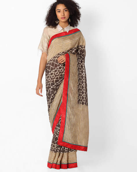 Printed Saree With Contrast Border By VIPUL ( Black )