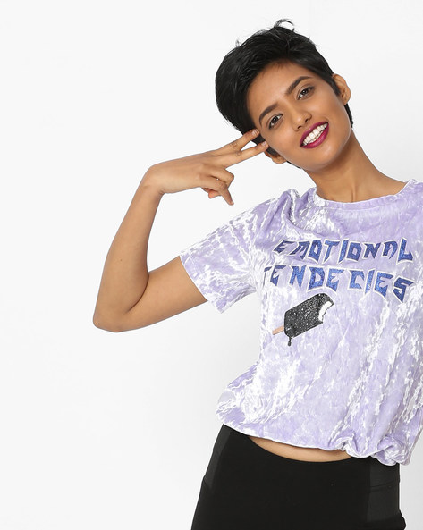 Printed Crew-Neck T-shirt By Only ( Ltpurple )