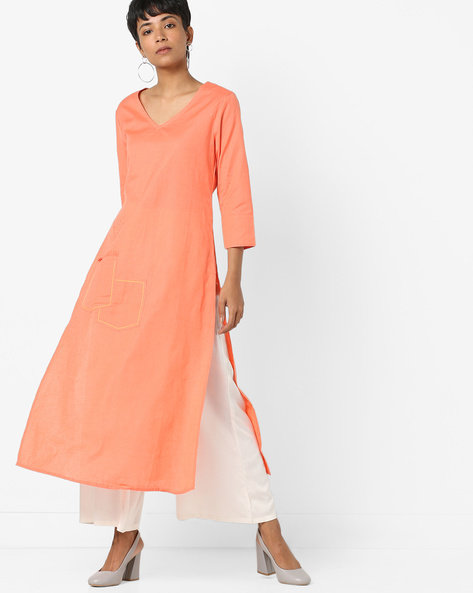 Embroidered Straight Kurta With Patch Pocket By AJIO ( Peach )