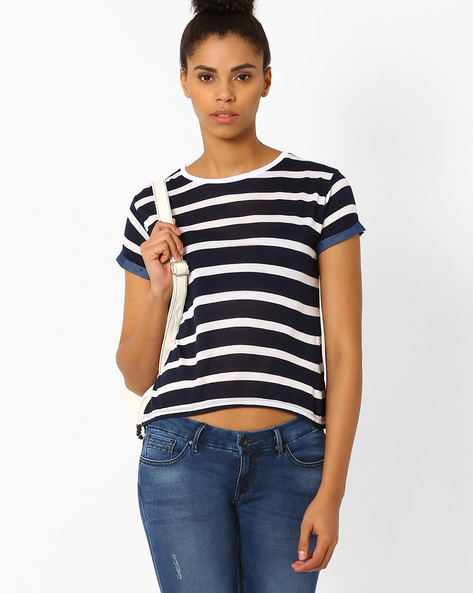 Striped T-shirt With Contrast Detail By Lee ( Dkblue )