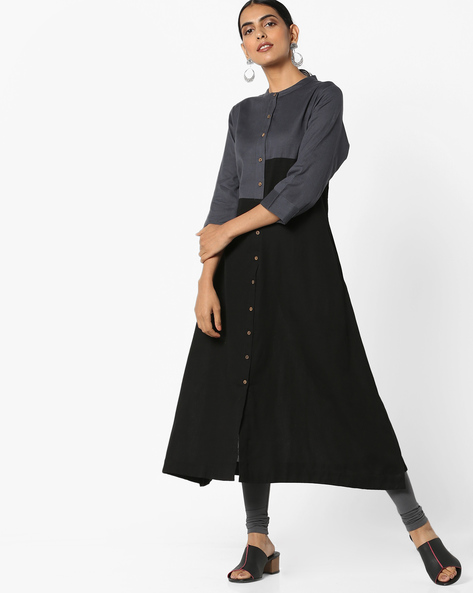 Colourblock A-line Kurta By Project Eve IW Casual ( Black )