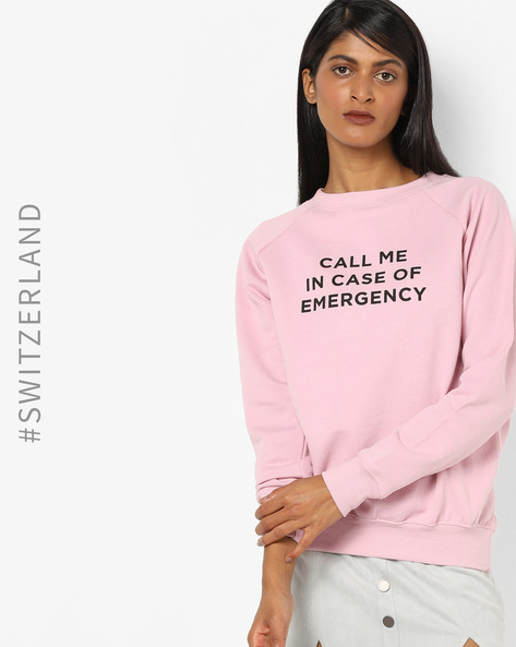 Typographic Print Sweatshirt With Raglan Sleeves By TALLY WEiJL ( Purple )