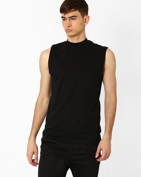 Slim Fit High-Neck T-shirt By Blue Saint ( Black )
