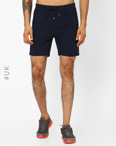 Textured Seersucker Shorts With Drawstring Waist By Native Youth ( Navy )